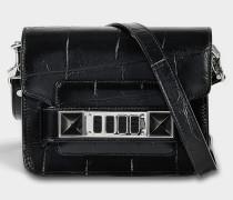 Ps11 Crossbody Tasche aus schwarzem geprägtem Giant Croc Leder