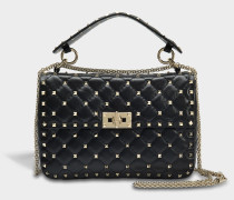 Rockstud Spike Medium Shoulder Bag aus schwarzem Nappaleder