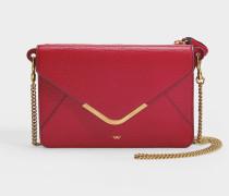 Postbox-Portemonnaie aus genarbten, rotem Leder mit Kette