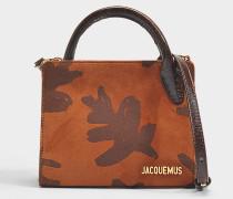 Bahia Tasche aus bedrucktem braunem Wildleder