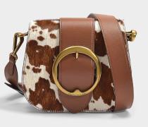 Tasche Crossbody Lennox Medium aus braunem und cremefarbenem Poney Leder