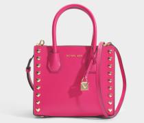 Mercer Love Heart Studs Medium Messenger Tasche aus Ultra rosanem poliertem Leder