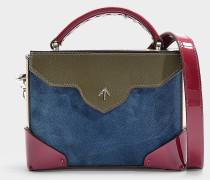 Handtasche Micro Bold Combo aus Samt in Fuchsia, Khaki und Beige