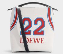 Bucket Bag T Bucket  22 aus weißem und rotem Kalbsleder