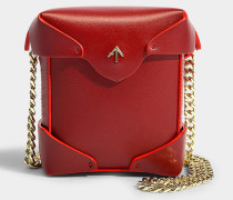 Micro Handtasche Pristine mit Kettenriemen aus pflanzlichem Kalbsleder in Rot