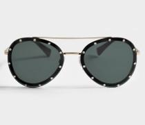 Studded Sonnenbrille aus schwarzem Metall und Acetat