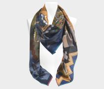 Seidencarré Retour en Phénicie 90x90 aus marineblauer Wolle und Seide