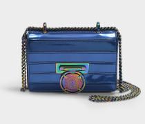 Tasche Baby Box aus kobaltblauem Leder