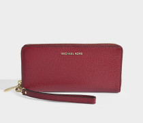 Money Pieces Travel Continental Wallet in Red Calfskin