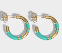 Positano Mini Hoop Ohrringe aus EmeraldSchmucksteinen und 18K vergoldetem Messing
