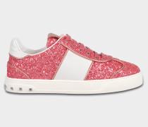 Fly Crex Glitzer Sneaker mit rosanem Glitzer aus Kalbsleder