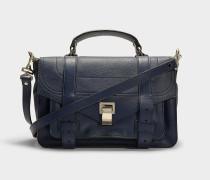 Handtasche PS1 Medium aus indigoblauem Kalbsleder