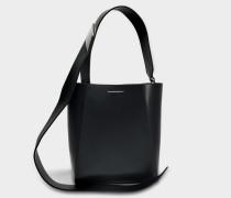 Small Buckle Tasche Stripe Link aus schwarzem Kalbsleder