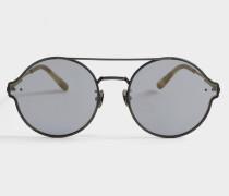 Sonnenbrille mit Antireflective Spiegel Linsen aus silbernem Metall