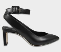 Lou Pumps mit Fesselriemen aus schwarzem glänzend glattem Leder