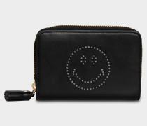Smiley Compact Geldbörse aus schwarzem Circus Leder