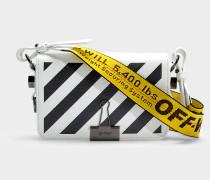Handtasche mit Taschenklappe Mini Diag Flap aus schwarzem und weißem Kalbsleder
