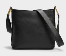 Max S Zip Crossbody Tasche aus schwarzem Leder