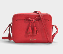 Hayes Street Arla Camera Bag in Royal Red Pebble Leather