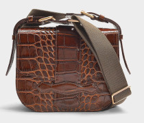 Crocodile embossed leather Gemma Medium crossbody aus braunem Kalbsleder