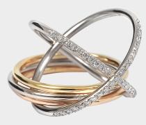 XXO Ring aus gelbem rosanem und weißem 18K goldfarbenem und Diamanten