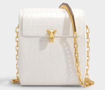Handtasche PO Box aus weißem kroko-geprägtem Leder