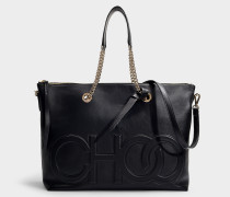 Allegra Tote in Black Nappa Leather with Embossed Choo Logo