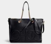 Shopper Allegra aus schwarzem Nappaleder mit Logoprägung Choo
