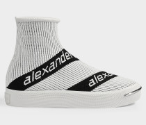 Pia Logo Sneakers in White Knit