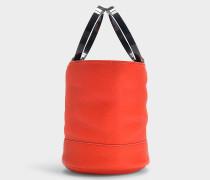 Handtasche mit Schulterriemen Bonsai 20 cm aus genarbtem Kalbsleder in Rot