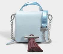 Sailor Chain Mini Top Handle Tasche aus himmelblauem Wildleder