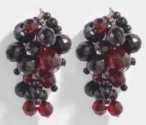 Devra Mono Ohrring aus braunem Glas und Polyster