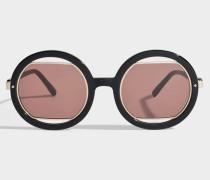 Show Round Sonnenbrille aus schwarzem Acetat und Metall