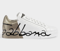 Portofino Sneakers with Logo across Rear in White and Gold Calfskin