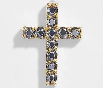 Cross Mono Ohrring in 9K Gold mit grauen Saphiren