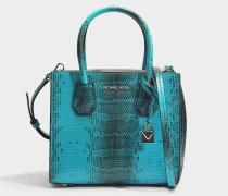 Mercer Medium Messenger Tasche aus Tile blauem Python geprägtem Kalbsleder
