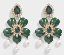 Dahlia grünem Ohrringe aus grünem Messing, Swarowskisteinen und Perlen