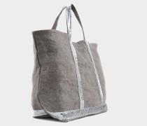 Pailletten and Canvas Medium + Tote Bag aus Calcaire Leinen