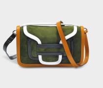 Alpha Crossbody Clutch Tasche aus Multi Khaki Wildleder und Kalbsleder