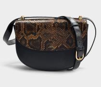 Tasche Genève aus Crack-Leder und schwarzem Leder mit Pythonprägung