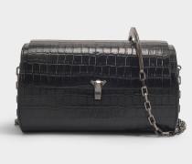 Riementasche mit Kette PO Trunk aus schwarzem kroko-geprägtem Leder