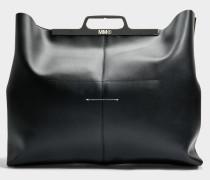 Hand Carry Tasche aus schwarzem Kalbsleder mit Folie