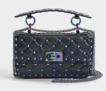 Rockstud Spike small Shoulder Tasche aus schwarzem irisirendem Leder