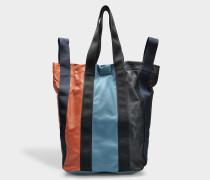 Shopping Tasche aus Iris blauem und schwarzem Lammleder