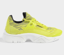 Sonic Exaggerated Sole Fluro Sneakers in Fluro Yellow Calfskin