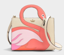 Handtasche Sam Thompson Street Flamingo aus weißem Kalbsleder