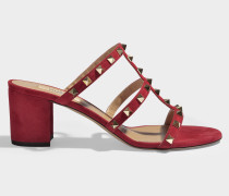 Mules 60 Rockstud Chunky aus Samt in Rot