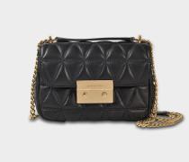 Sloan Small Chain Shoulder Bag aus schwarzem Pyra gestepptes Lammleder