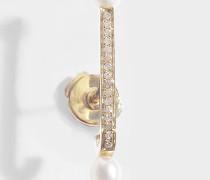 Mono-Ohrring Barre Perlée aus 14 Karat Gold und Diamanten
