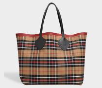 XL Reversible Tote Bag aus karamelfarbener und gelber Baumwolle